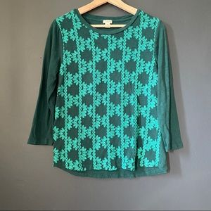 [J. Crew Factory] Embroidered Front green top